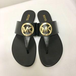 Michael Kors Raquel Black Leather Thong Sandals